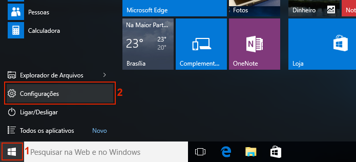 Acessando as configurações do Windows 10 (Foto: Reprodução/Edivaldo Brito)