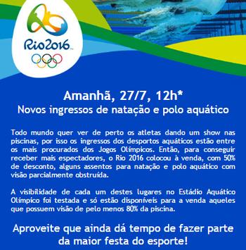 Ingresso à venda com visibilidade comprometida (Foto: Divulgação / Rio 2016)
