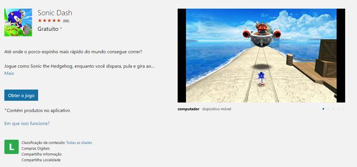 Página de Sonic Dash na Windows Store (Foto: Reprodução/André Mello)