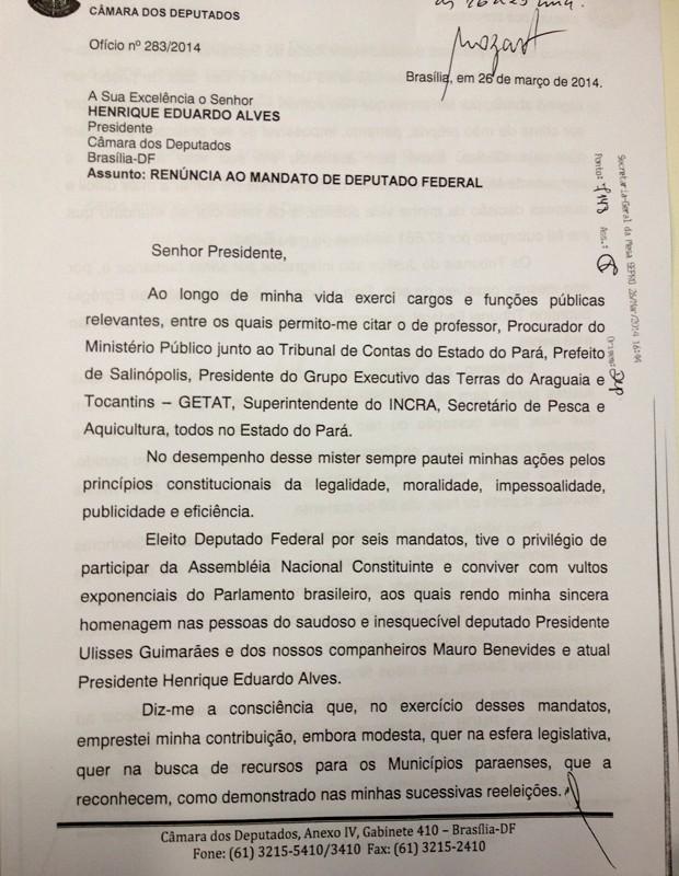 Carta de renúncia do deputado Asdrubal Bentes (página 1) (Foto: Reprodução)