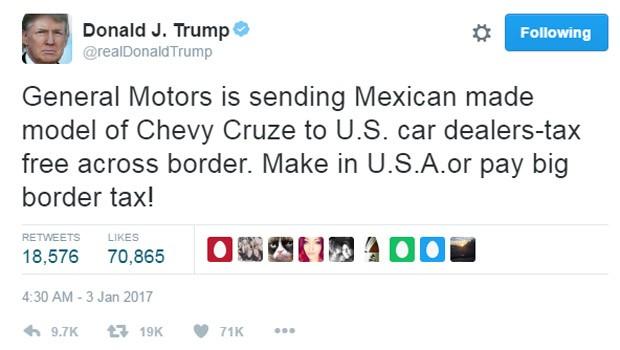 Trump postou ameaça à GM por importar o Cruze do México (Foto: Reprodução/Twitter)
