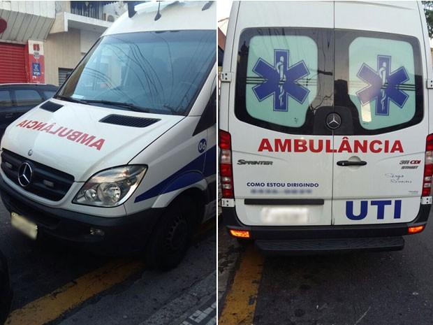 Ambulância que levava o falso médico junto com a paciente que veio a morrer (Foto: Glauco Araújo/G1)