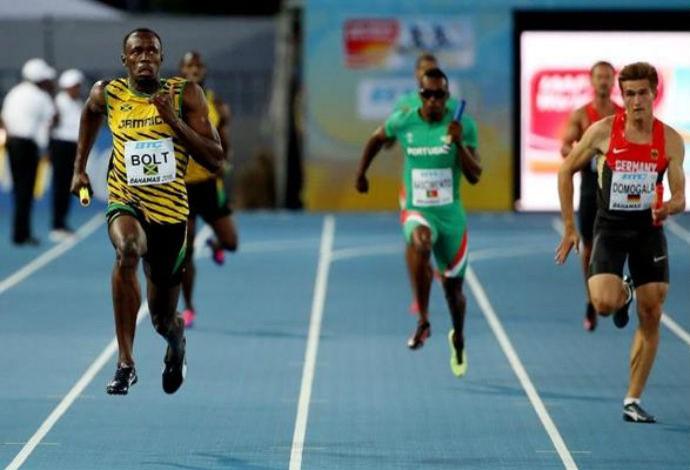 Usain Bolt, Mundial de Revezamento, prova 4x100m, Nassau (Foto: Divulgação/IAAF)