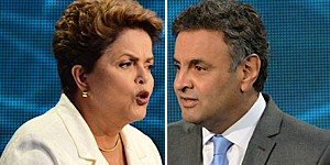 Dilma e Aécio se atacam no primeiro debate na TV para o 2º turno (Nelson Almeida/AFP)