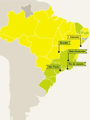 Os estados verdes indicam proficiência baixa em inglês; em amarelo, proficiência muito baixa (Foto: Reprodução)