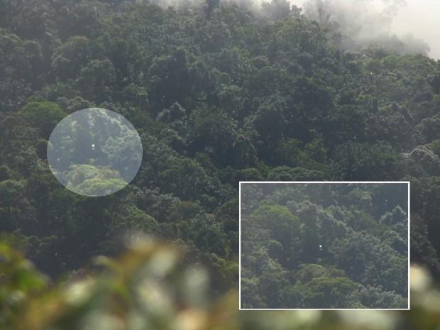 Foto mostra pequeno ponto de luz à esquerda e ampliado no destaque. (Foto: Polícia Militar)