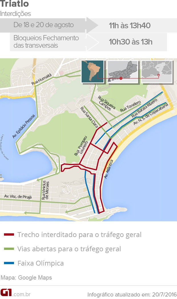 Triatlo vai interditar ruas de Copacabana na Rio 2016 (Foto: Arte G1 Rio)