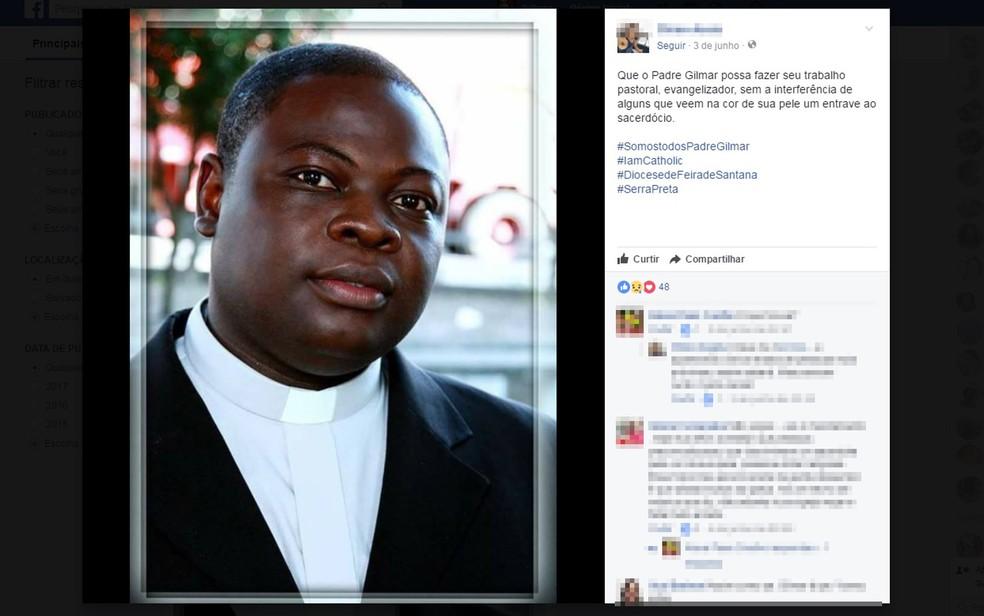 Padre Gilmar Assis recebeu apoio nas redes sociais após áudio com ofensas circular em app e nota de solidariedade da arquidiocese (Foto: Reprodução/ Facebook)