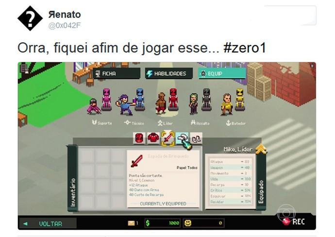 Internauta comenta o 'Zero1' na web (Foto: TV Globo)