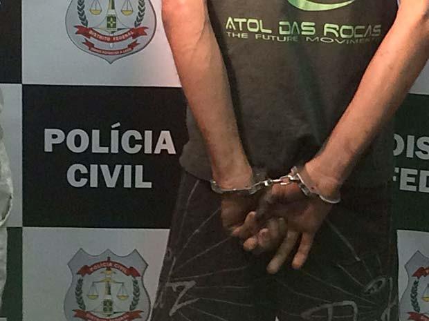 Suspeito de roubo a pedestres no Guará que foi preso em ação da Polícia Civil do DF (Foto: Jamile Racanicci/G1)