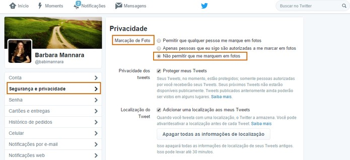 Twitter tem ferramenta para impedir marcações em fotos (Foto: Reprodução/Barbara Mannara)