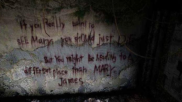 Silent Hill 2: James deve ver objetos e ler frases que influenciem pensamentos suicidas (Foto: Reprodução/Youtube)
