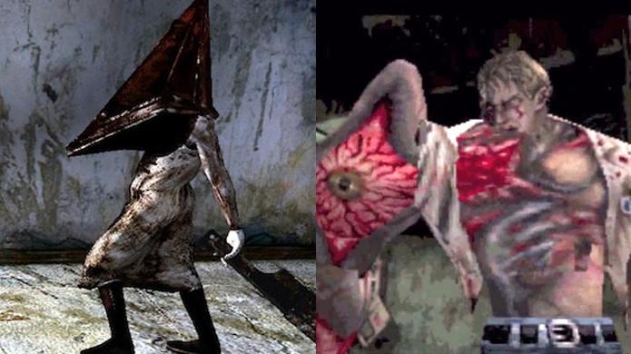 Silent Hill aposta no incompreensível, mas Resident Evil mostra sempre as deformidades do vilão (Foto: Reprodução/Giant Bomb e The Ultimate Gamer)