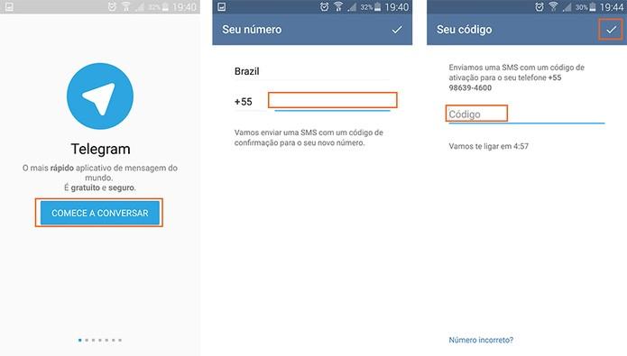 Inicie o cadastro no Telegram adicionando seu celular (Foto: Reprodução/Barbara Mannara)