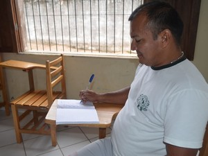 José Augusto Duarte dos Santos, detento fará prova pela 1ª vez. (Foto: Luana Leão/G1)