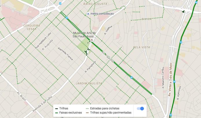 Visualizando ciclovias, trilhas e estradas indicadas para prática do ciclismo em uma cidade com o Google Maps (Foto: Reprodução/Marvin Costa)