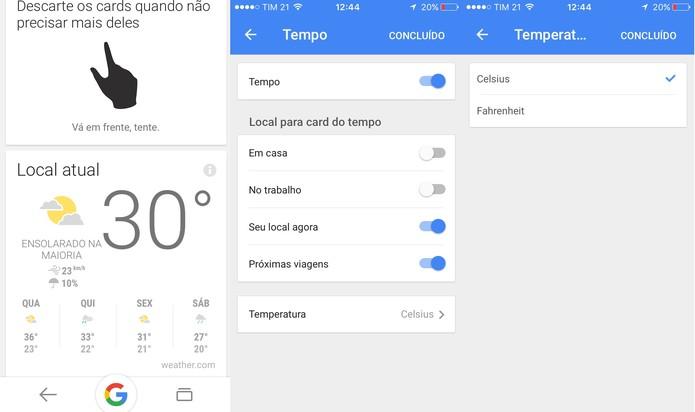 Google Now mostra a previsão do tempo em diferentes locais (Foto: Reprodução/Juliana Pixinine)