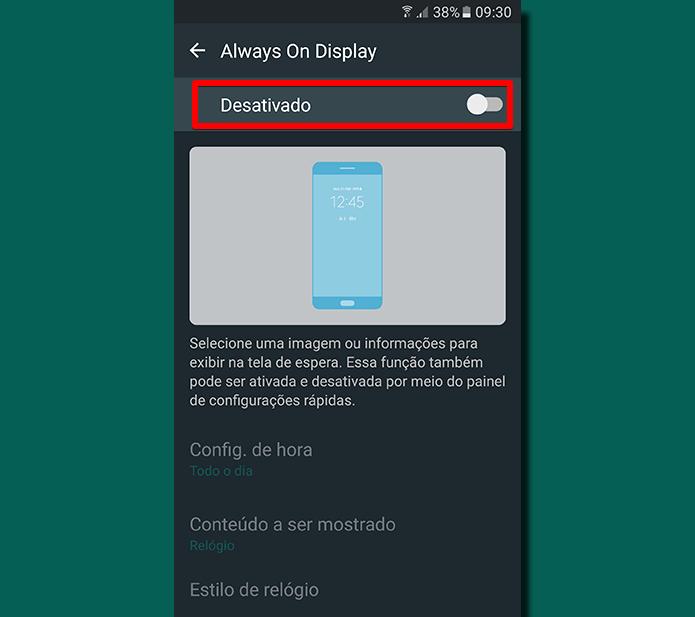 Antes de configurar seu funcionamento, você precisa ativar o Always On Display (Foto: Reprodução/Filipe Garrett)