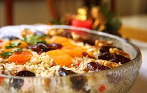 Arroz de Natal light com chester, frutas secas e goji berry