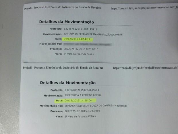 Decisão foi publicada no Projudi; horário de entrega da petição e decisão judicial é de dois minutos (Foto: G1 RR)