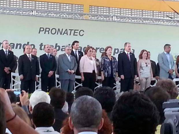 Autoridades do estado acompanham presidente DIlma em solenidade (Foto: Fernanda Zauli/G1)