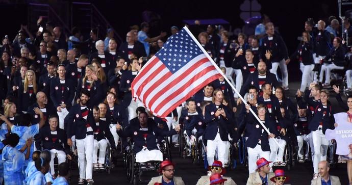 Cerimônia de abertura da Paralimpíada Rio 2016 - Estados Unidos (Foto: André Durão)