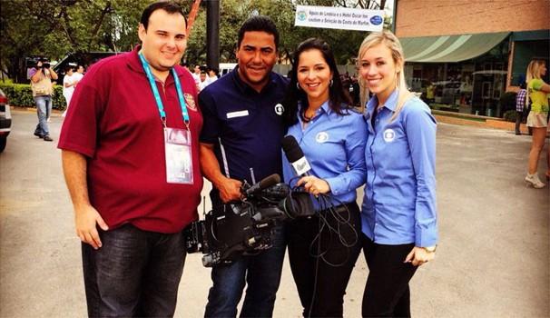 Guto Marchiori do Globoesporte.com,  Marcelo Rodrigues, Roberta Campos e Gabriela Delman (Foto: Arquivo Pessoal)