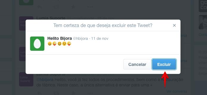 Confirme que deseja apagar o tweet (Foto: Reprodução/Helito Bijora)