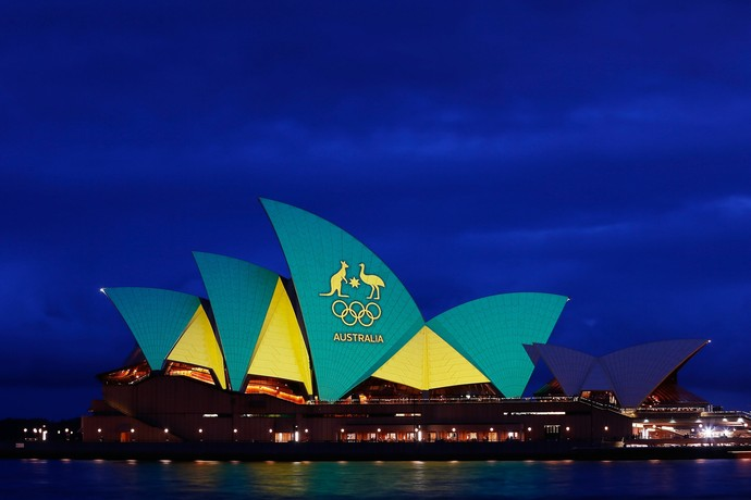 opera house, nas austrália, com as cores da olimpíada (Foto: Brendon Thorne/Getty Images)