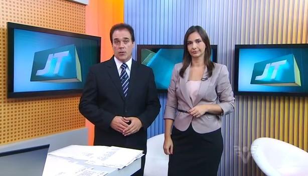 Tony Lamers e Vanessa Machado no Jornal da Tribuna 1ª Edição (Foto: arquivo)