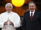 Raúl Castro recebe Papa Bento XVI no Palácio da Revolução em Havana