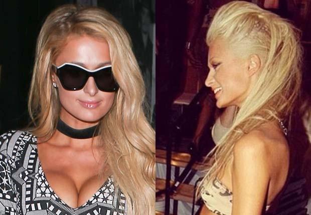 Paris Hilton com decotão em 2017 e em foto antiga (Foto: AKM-GSI e Reprodução)
