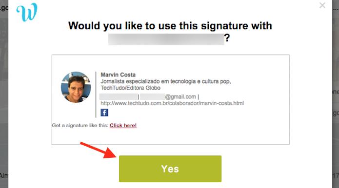 Tela de confirmação para criar um cartão de apresentação com link para o Facebook no Gmail (Foto: Reprodução/Marvin Costa)