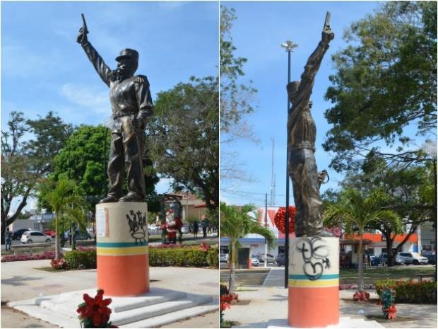 Praça Veiga Cabral, Vandalismo, pichação, estátua, Macapá, Amapá (Foto: Jorge Abreu/G1)