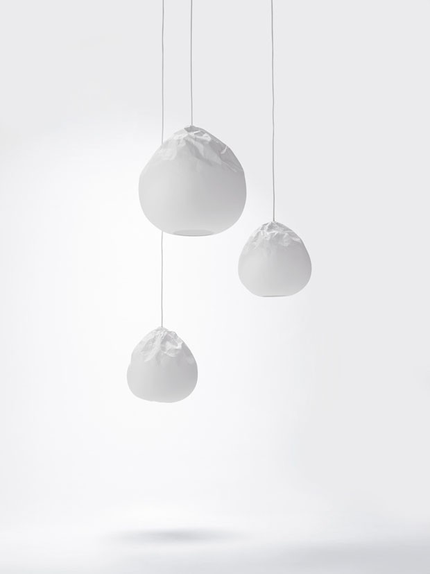 design_luminária_semi_wrinkle_washi_nendo (Foto: Hiroshi Iwasaki)