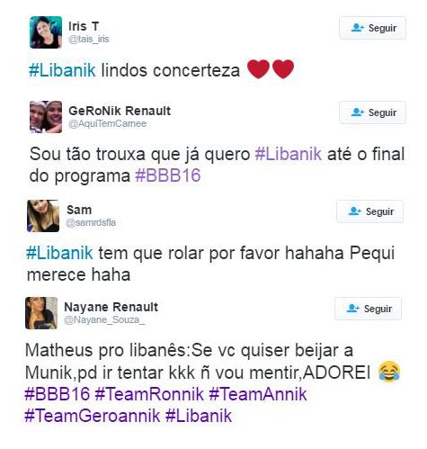 Comentários a favor do casal Munik e Juliano no BBB (Foto: Reprodução / Twitter)