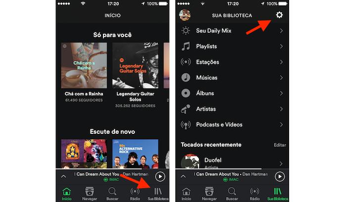 Acessando as configurações do Spotify no celular (Foto: Reprodução/Marvin Costa)
