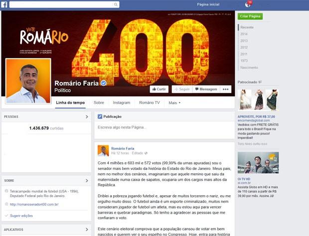 Ex-jogador usa rede social para agradecer eleitores (Foto: Reprodução Internet)