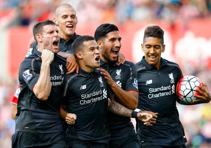 Philippe Coutinho comemoração gol Stoke Liverpool (Foto: Reuters)