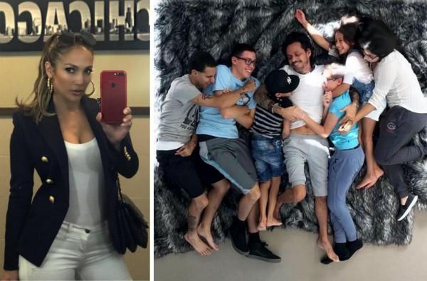 A foto compartilhada por Jennifer Lopez mostrando Marc Anthony com os filhos (Foto: Instagram)