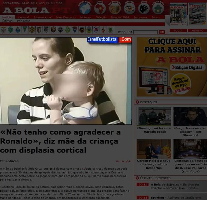 criança displasia agradecimento Ronaldo (Foto: Reprodução / A Bola)