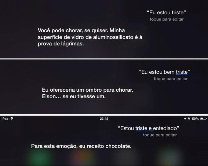 Siri responde ao sentimento de tristeza do usuário (Foto: Reprodução/Elson de Souza)