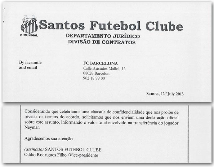 Documentos venda Neymar Santos Barcelona