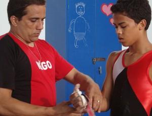 Niedson Bezerra, ginasta artístico paraibano, e seu técnico, Luciano Cardoso (Foto: Cadu Vieira / globoesporte.com/pb)