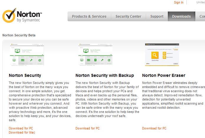 Escolhendo qual versão do Norton beta será baixada (Foto: Reprodução/Edivaldo Brito)