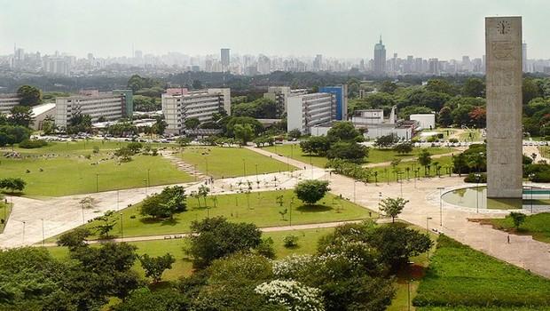 Vista aérea da Praça do Relógio na USP (Foto: USP Imagens)