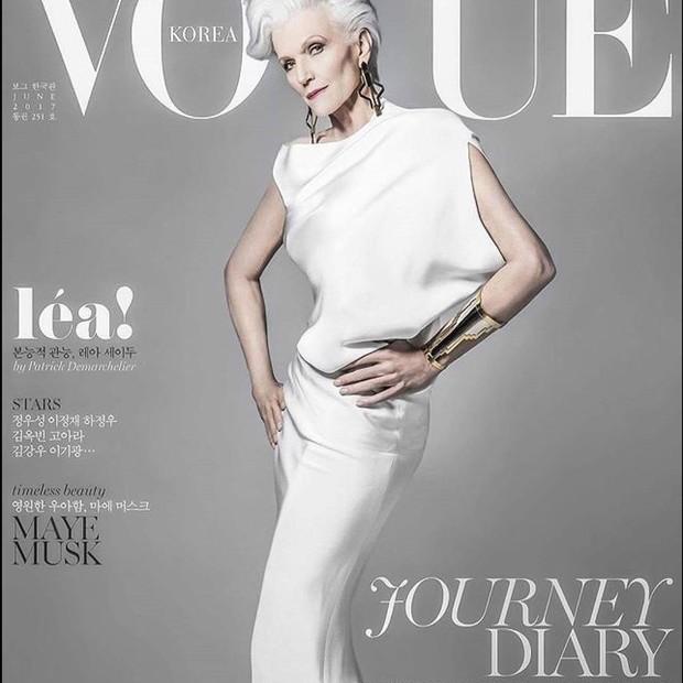 Maye Musk na capa da Vogue Coréia (Foto: Reprodução/Instagram)