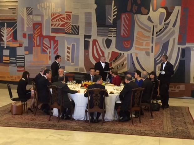 Dilma Rousseff almoçou no Itamaraty com comitiva do primeiro-ministro chinês (Foto: Filipe Matoso/G1)
