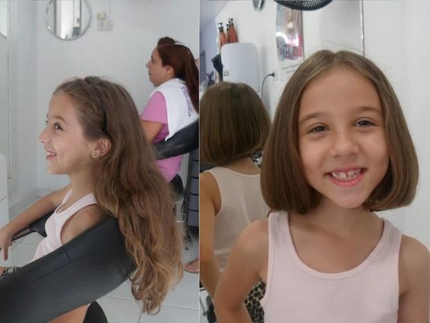 Daniella, de 7 anos, cortou os cabelos para doá-los às crianças com câncer. (Foto: Reprodução/Arquivo Pessoal)