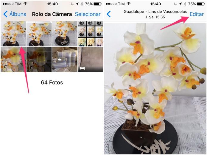 Selecione a foto e clique em Editar (Foto: Reprodução/Lucas Mendes)